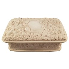 Vintage White INCOLAY Stone Trinket Box with a Floral Pattern