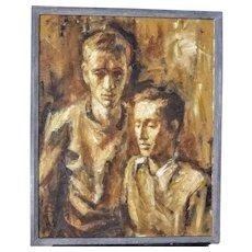 Vintage Oil Portrait of Two Men by Stevan Kissel on Wood