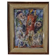 Vintage Oil on Canvas Portrait of Two Rabbis Carrying the Torah by David Pallock
