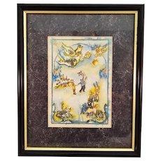 Ben Avraham Nhamani Fine Print Lithograph of Torah Simkha Celebration Ceremony - Signed