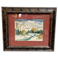 Watercolor Painting of a Snow Scene by Paul Lauritz - Custom Wooden Frame