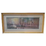 Watercolor Painting of a Forest Scene by D.F. Hasbrouck (1907)