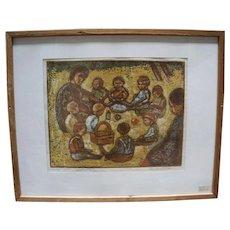 """Multiple Fine Print Lithograph of """"vuggestue på besøg"""" by Groth Jensen in a Vintage Frame - Signed"""