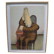 "Framed Multiple Fine Print Lithograph titled ""Seated Figure"" by Roy Carruthers - Signed"