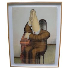"""Framed Multiple Fine Print Lithograph titled """"Seated Figure"""" by Roy Carruthers - Signed"""