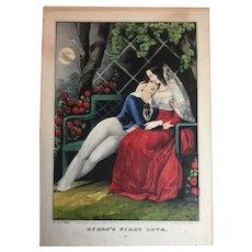 Nathaniel Currier Original Lithograph circa 1848 Byron's First Love.   MAKE OFFER!
