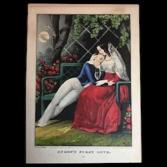 Nathaniel Currier Original Lithograph circa 1848 Byron's First Love