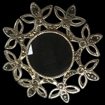 Delicate Silver-tone and Black Rhinestone Pin / Brooch