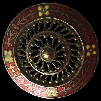 Vintage Red Cloisonné Filigree Pin / Brooch