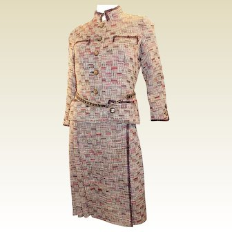 Coco Chanel Haute Couture Documented 4 piece suit with belt