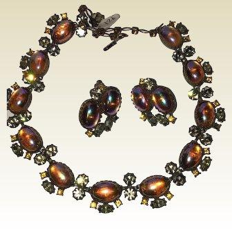 Vendome moonstone necklace & earrings se 1940 's