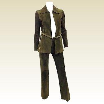 Gucci Green Horsebit 1972 Vintage Leather  Pant Suit