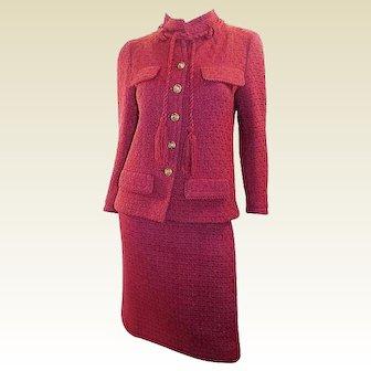 1979 Chanel Raspberry Vintage Haute Couture Color Skirt Suit