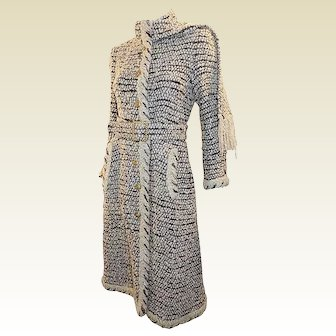 Chanel Beige Coco Haute Couture Tweed COAT with Belt and Scarf 1979