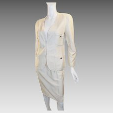 Chanel Ivory Silk Skirt Suit