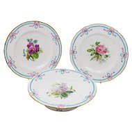 Antique Minton hand painted Dessert comport and pair of plates, c. 1857.