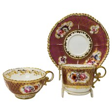 Antique rare Important Coalport tea, coffee cup and saucer c. 1820 by Josiah Patten/Pattern