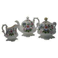 Victorian Bachelors teapot, sugar and cream G.F. Bowers c.1843 with enigma.