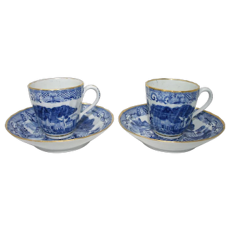 Delightful pair of New Hall shanked 'Trench Mortar' coffee cups and saucers c.1795.