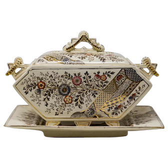 Christopher Dresser 'Hampden' Old Hall soup tureen and stand. c. 1884.