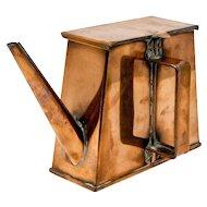 Rare Art Deco Joymanco flat back boat / train copper kettle. Shades of Dresser.