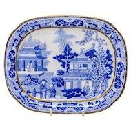 Rare antique Miles Mason blue and white 'Verandah' pattern teapot stand. c. 1810