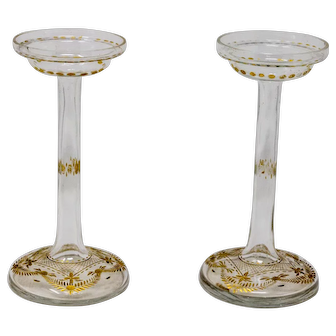 Stunning vintage St. Louis French cut glass and gilded candlesticks.