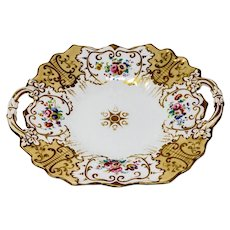 Antique Ridgway porcelain handpainted cake plate c. 1855.
