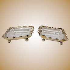 Antique silver plate Christopher Dresser style Jas. Dixon & Sons butter dishes c1880