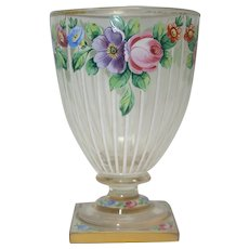 Superb hand painted 19th century Bohemian glass vase