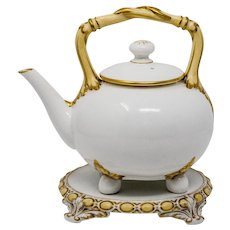 Stunning Aesthetic Grainger Worcester Tea Kettle and stand c.1880