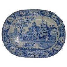 Large blue and white Pashkov House, Moscow platter c. 1825