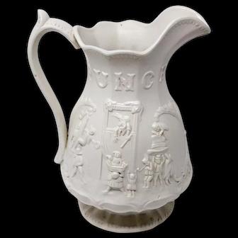 Rare Alcock Victorian antique Mr. Punch relief moulded jug c.1880.