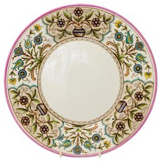 Pr Antique Christopher Dresser Old Hall 'Cairo' plates c.1880, one turquoise, one pink.