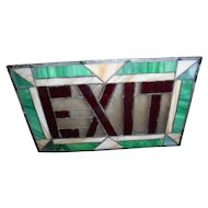 Antique Stained Glass Exit Sign