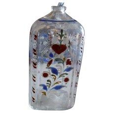 Early Enameled Stiegel Bottle
