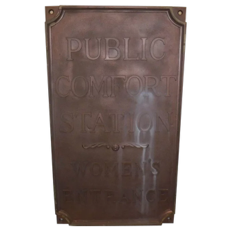 Pair Bronze Comfort Station signs