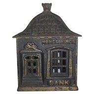 "Home Savings Bank W/ Dog head top finial  circa 1880-1900 5 3/4 x 4"""