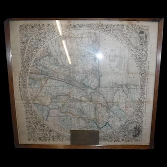 Rare Travel map NYC J H Holton 1851