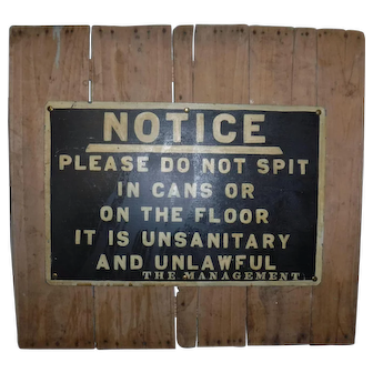 Vintage Unusual Hotel Notice sign 1900