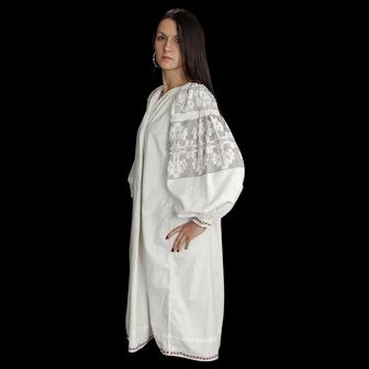 Black on white vintage women's clothing  boho dress 100% cotton, excellent condition, S-L