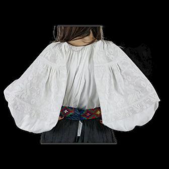 White on white beautiful ukrainian blouse 1940s 100% cotton, excellent condition, S-L