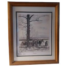 Vintage Signed 1983 Thelma Winter Limited Edition Print Titled Fenceline