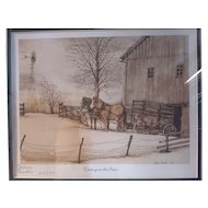 Vintage Signed Limited Edition 1983 Thelma Winter Print Titled Waiting At The Barn
