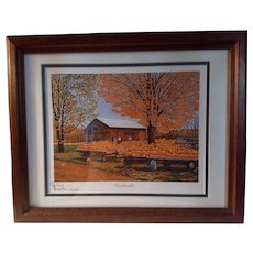 Vintage Signed Limited Edition Thelma Winter Print Titled Pumpkinville