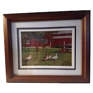 Vintage Signed Limited Edition Thelma Winter Print Titled Gaggle Of Geese At The Barn