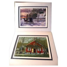 2 Vintage Signed Limited Edition Thelma Winter Prints Titled Tarp Shop & School Days