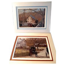 2 Vintage Signed Limited Edition Thelma Winter Prints Glade Creek & Children's Buggy Ride