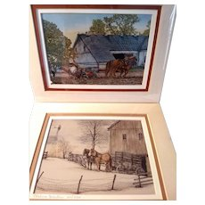2 Vintage Signed Limited Edition Thelma Winter Prints Planting Time & Waiting At The Barn