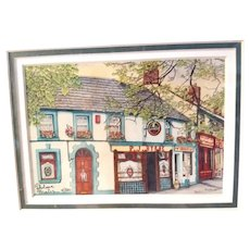 Vintage Signed Limited Edition Thelma Winter Print Titled P.J.'s Pub Castle Bellingham Louth Ireland